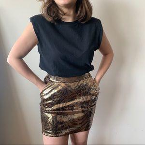 Zara Sequin Animal Print Skirt with Pockets